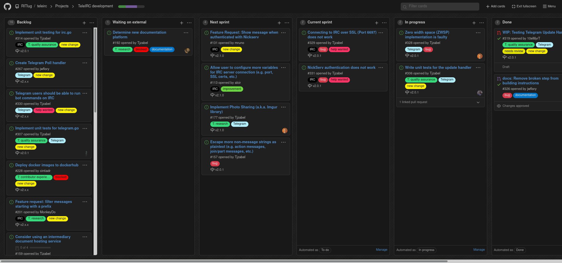 July 2020 screenshot of TeleIRC GitHub developer project board (click to open)